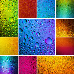 Colorful waterdrops set collage