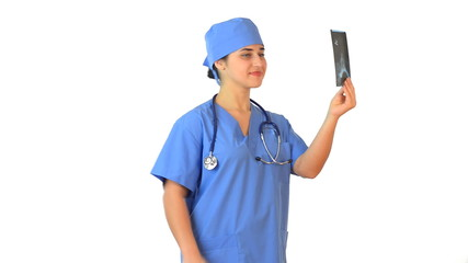 Beautiful female doctor in blue uniform picture examines and exp