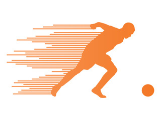 Soccer football player silhouette vector background concept made