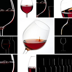 Red Wine Glas silhouette set collage