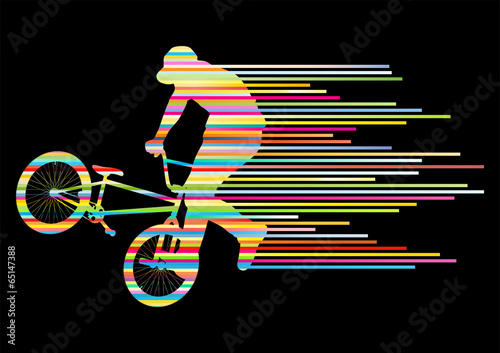 Extreme cyclists bicycle rider active teenager sport silhouettes © kstudija