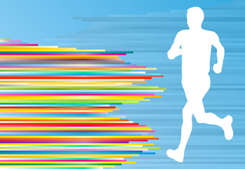Man runner silhouette vector background template concept