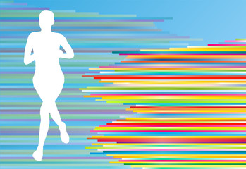 Woman runner silhouette vector background template concept