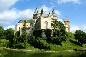 Towers of beautiful Bojnice castle in Slovakia