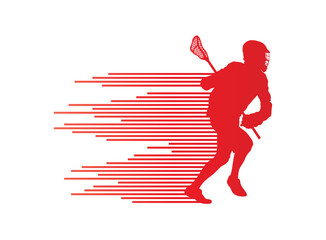 Lacrosse player in action vector background concept made of stri