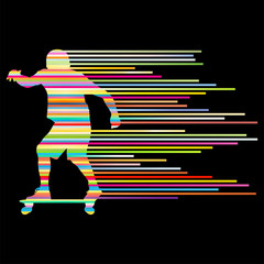 Skateboarder silhouette vector background concept made of stripe