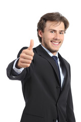 Young business man gesturing thumb up