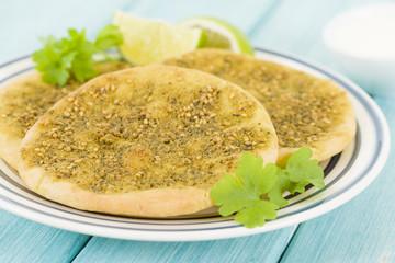 Zaatar Manakish - Flatbread with zaatar and olive oil