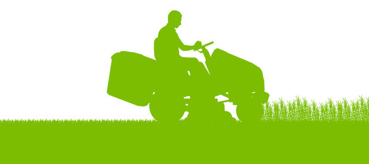 Man with lawn mower tractor cutting grass in field landscape abs