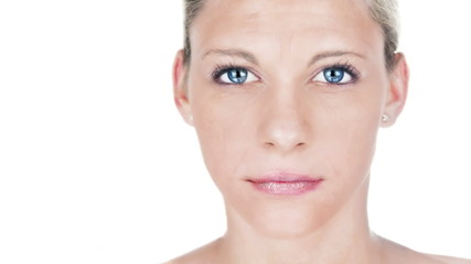 Beautiful woman aging process portrait. Female model