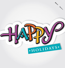 HAPPY HOLIDAYS hand lettering (vector)