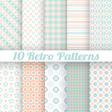 Fototapety 10 Pastel retro different vector seamless patterns (tiling)