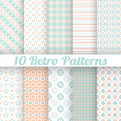 10 Pastel retro different vector seamless patterns (tiling)