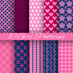 10 Bright girl vector seamless patterns (tiling)
