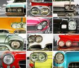 Classic cars, retro automobile collage, bumper and headlights - 65148982