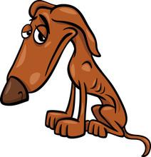 Biedny głodny pies ilustracji kreskówki