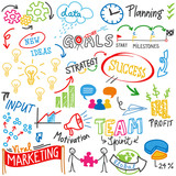 Business related words, success, marketing, scribbles, doodle