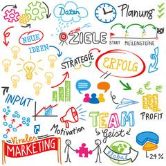 Scribble, doodle, Skizze, Geschäftsidee, Erfolg, Strategie