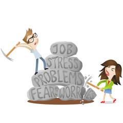 Man, woman, rocks, job, stress, problems, fears, worries