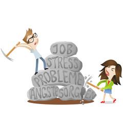 Mann, Frau, Paar, Probleme, Stress, Fels, zerschlagen