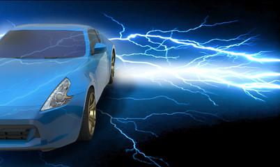 Beautiful blue sport car on road and lightning in city