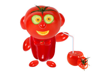 Funny little man made ??of tomatoes and keeps tomato juice