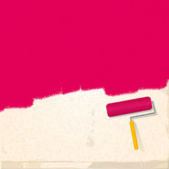 paint and roller background pink