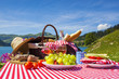 Picnic in french alpine mountains with lake