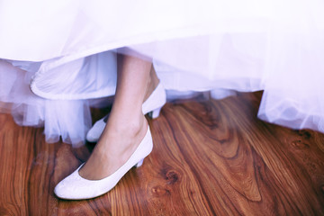 shoe of the bride in retro style