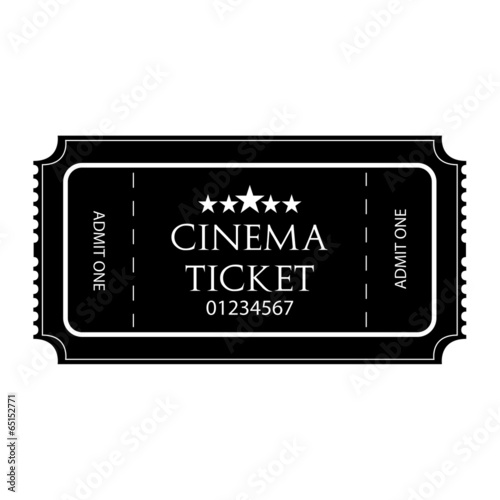 Black And White Cinema Ticket Icon Isolated