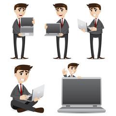 cartoon businessman with computer laptop set