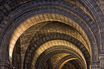 medieval church stone arches