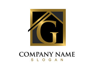 Gold letter G house logo