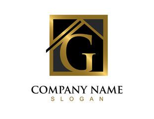 Gold letter G house logo