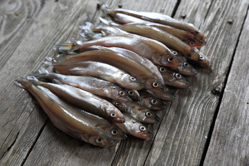 Crude shallow saltwater fish - smelt.