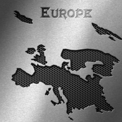 Europe map on metal background