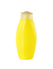 Yellow plastic bottle isolated on white background