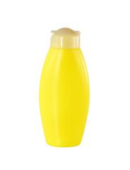 Yellow plastic bottle isolated on white background