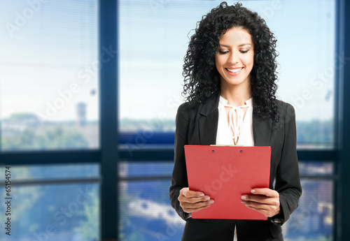 Woman reading a document