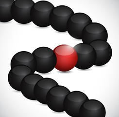 black spheres and one in red. illustration
