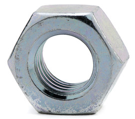 Close-up of galvanized steel nut on white background