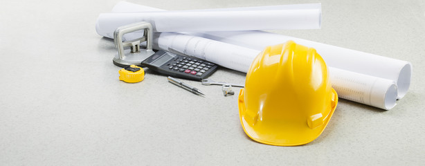 Construction plans and equipment with copy space for your text