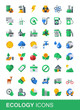 Ecology icon set, flat vector style