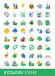 Ecology icon set, flat vector style