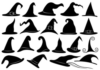 Set Of Different Witch Hats