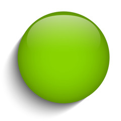 Green Glass Circle Button on White Background