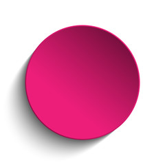 Pink Circle Button on White Background