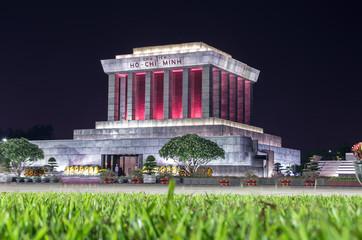 Ho Chi Minh Mausoleum in Hanoi at Night.