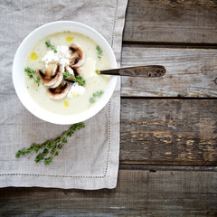 Potato cream soup with mushrooms. Top view.