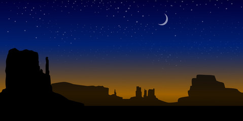 Monument Valley (Arizona) at Night -Vector